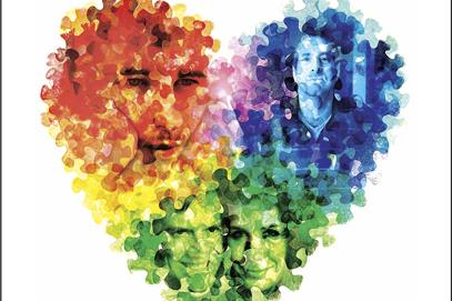 a multicolor heart with human faces superimposed upon it