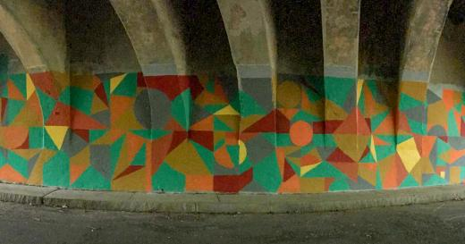 Caryn Azoff Mural on the Chapel Street Underpass in Edgewood Park